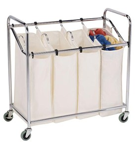 Four-Bag Commercial Laundry Sorter - Chrome Image