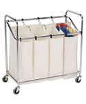 Four-Bag Commercial Laundry Sorter - Chrome