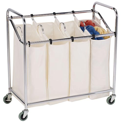fourbag commercial laundry sorter chrome