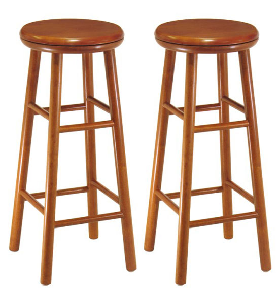 30 Inch Wooden Swivel Bar Stools Cherry Set Of 2 In