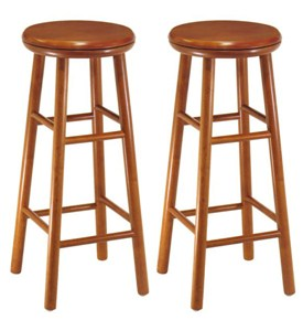 30 Inch Wooden Swivel Bar Stools - Cherry (Set of 2) Image