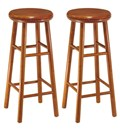 30 Inch Wooden Swivel Bar Stools - Cherry