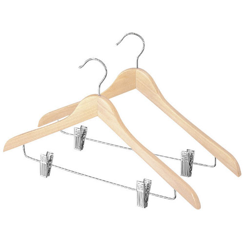 slim wood suit hangers with clips natural set of 2 image