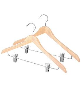 Slim Wood Suit Hangers with Clips - Natural (Set of 2) Image