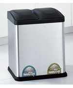 Divided 30L Step-On Recycle Bin with Colored Pedals