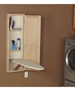 In Wall Ironing Board and Cabinet - Unfinished Oak