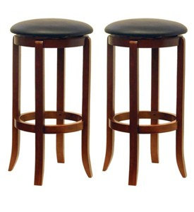 30 Inch Swivel Bar Stools - Walnut Finish (Set of 2) Image