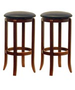 30 Inch Swivel Bar Stools - Walnut Finish