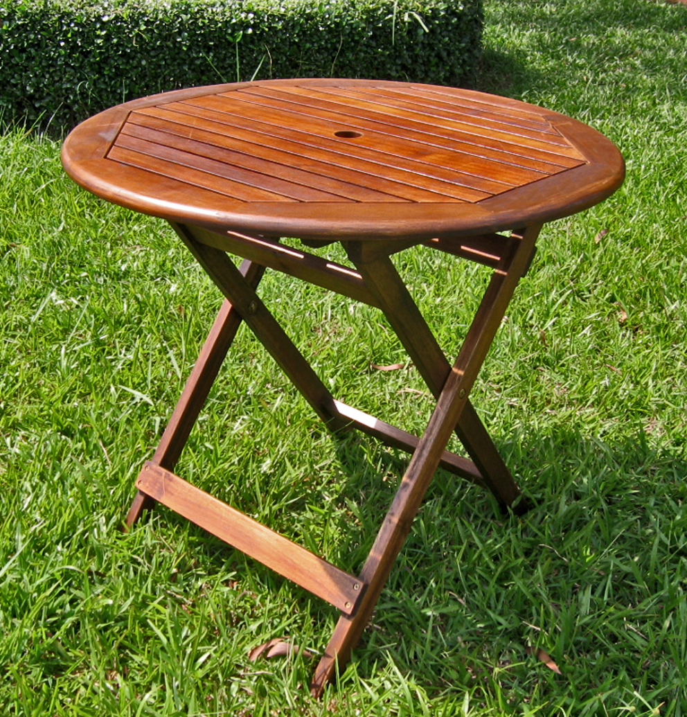 Inch round wooden folding table with straight legs in