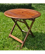 32 Inch Round Wooden Folding Table with Straight Legs