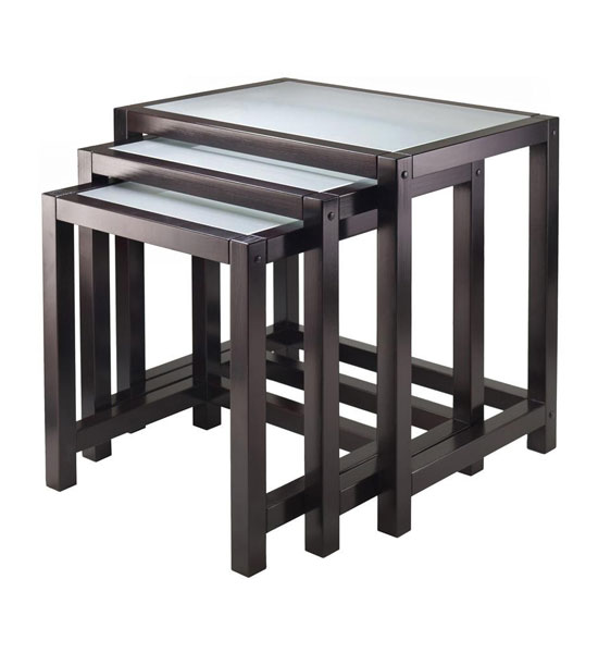 Frosted glass nesting tables in nesting table sets Frosted glass furniture