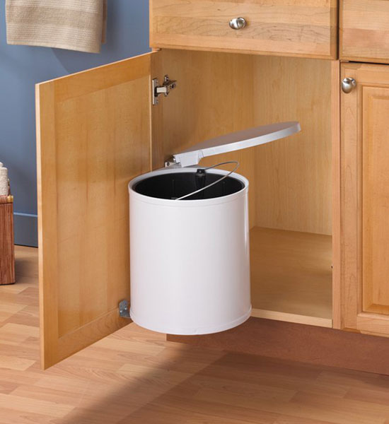 Swing Out White Trash Can in Cabinet Trash Cans