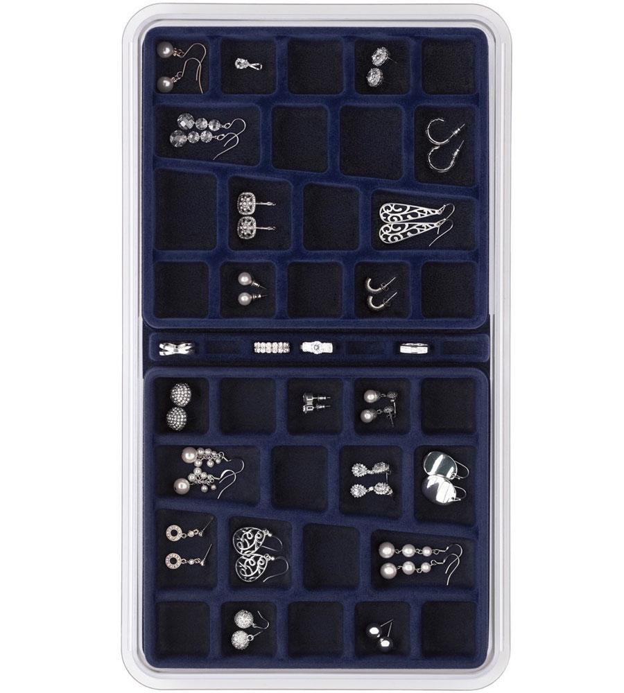 36 Compartment Jewelry Organizer Blue In Jewelry Trays