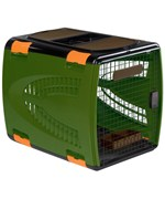 Extra-Large Pet Carrier - Dark Green and Brown