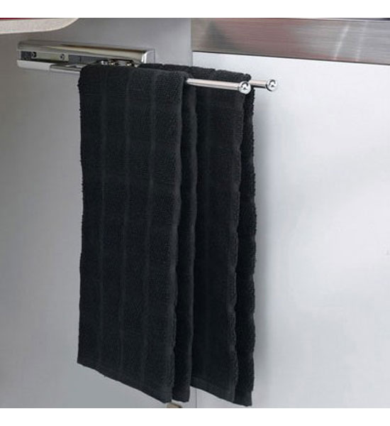 chrome two prong pullout towel bar in kitchen towel holders