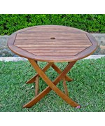 38 Inch Round Wooden Folding Table with Curved Legs