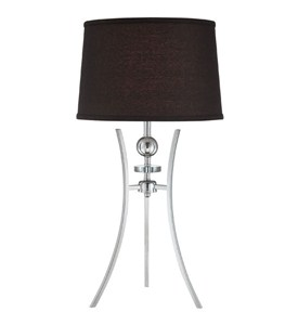 Chrome and Black Three-Pronged Table Lamp Image
