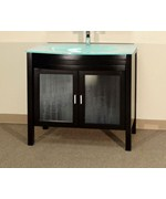 39.4 Inch Single Glass Sink Vanity by Bellaterra Home