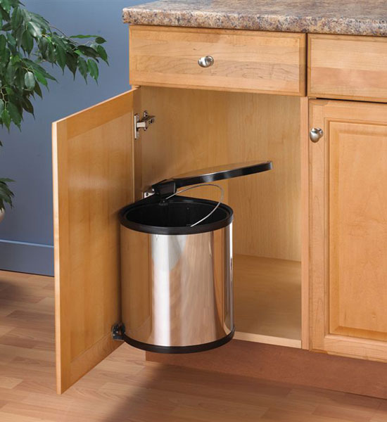 Swing out chrome trash can in cabinet trash cans - Small pull out trash can ...