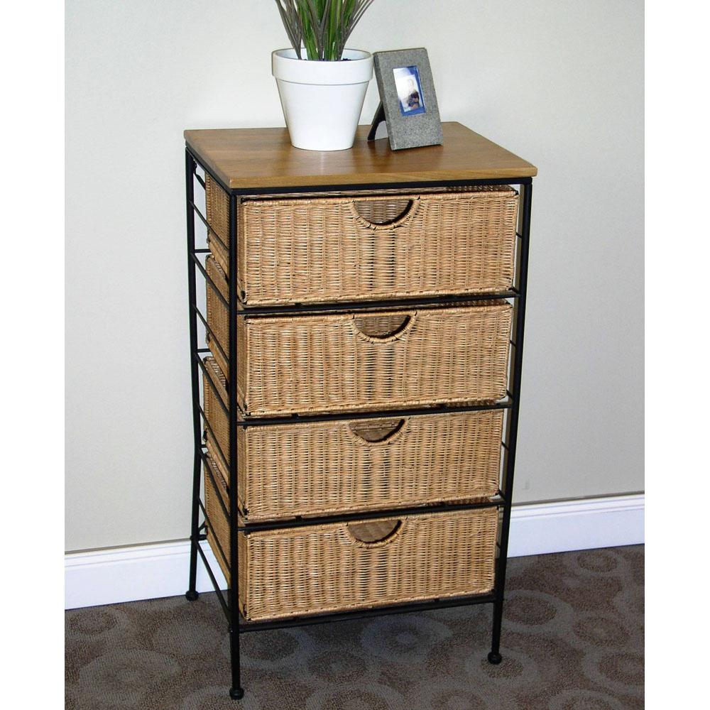 4 Drawer Wicker Wire Cabinet In Storage Drawers