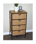 4 Drawer Wicker Wire Cabinet