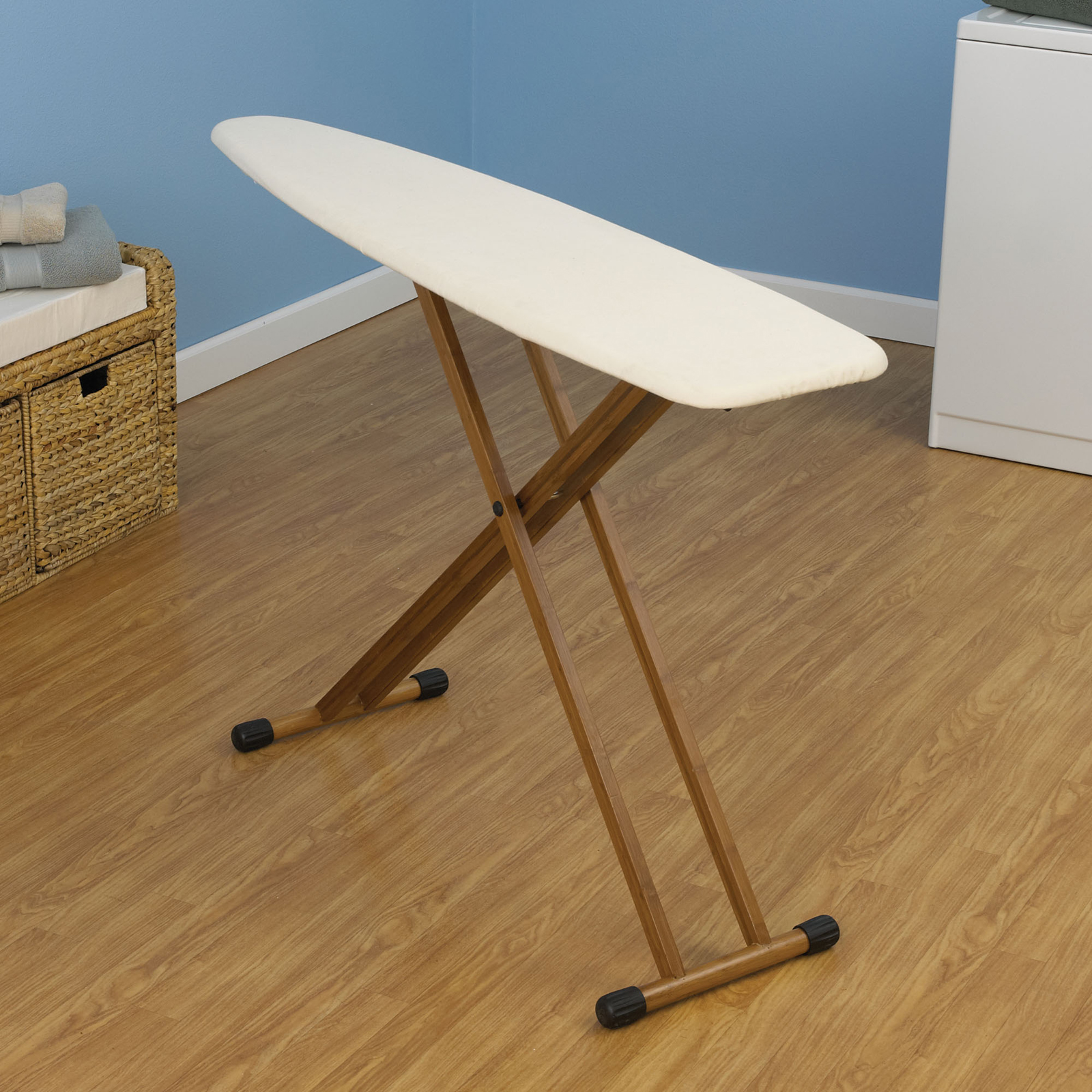 4 leg bamboo ironing board by household essentials in ironin