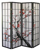 4 Panel Decorative Room Divider - Plum Blossom
