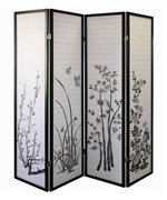 4 Panel Floral Room Divider