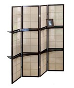 4 Panel Folding Screen with Shelves