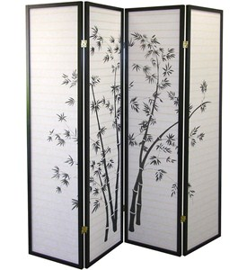 4-Panel Room Divider - Bamboo Image