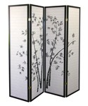 4-Panel Room Divider - Bamboo