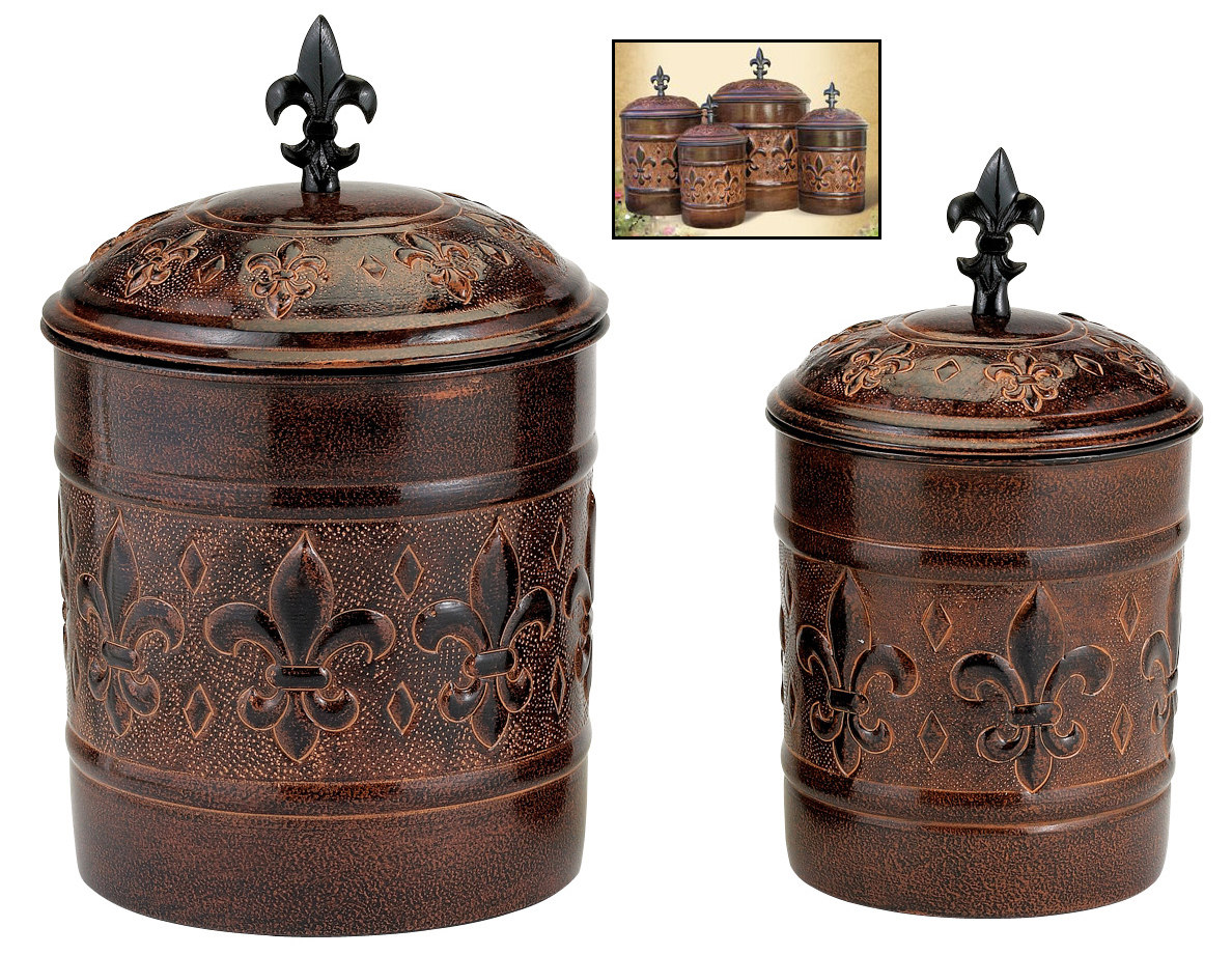 Bronze Kitchen Canisters >> 4 Piece Canister Set in Kitchen Canisters