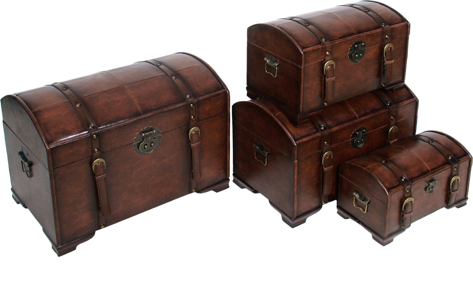 4 piece faux leather trunk set in storage trunks - Leather chests and trunks ...