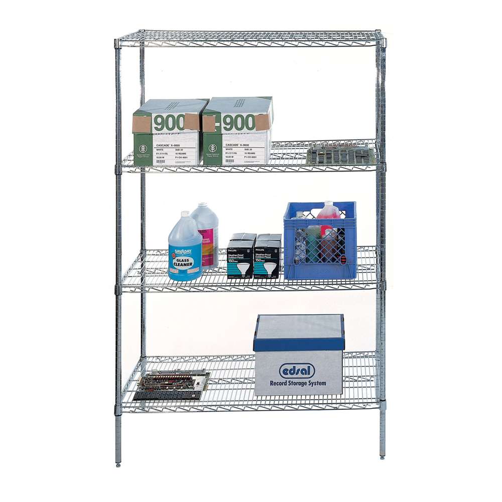 4 Shelf Wire Shelving Rack In Free Standing Shelves