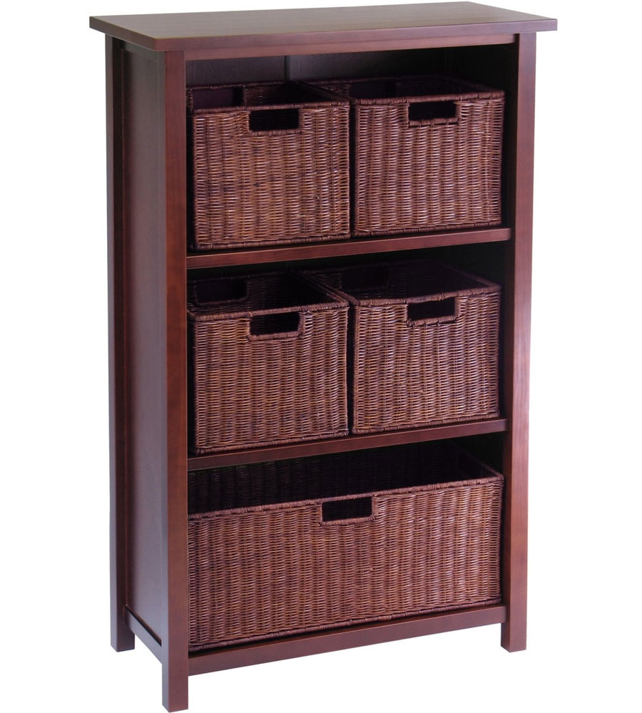 4 shelf wood bookcase with baskets in shelves with baskets. Black Bedroom Furniture Sets. Home Design Ideas
