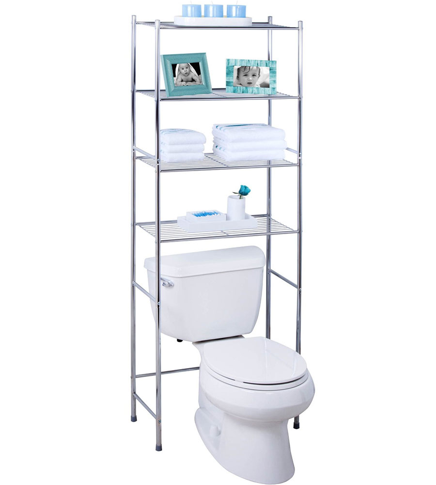 4 tier over toilet storage rack in over the toilet shelving for Petite salle de bain avec toilette