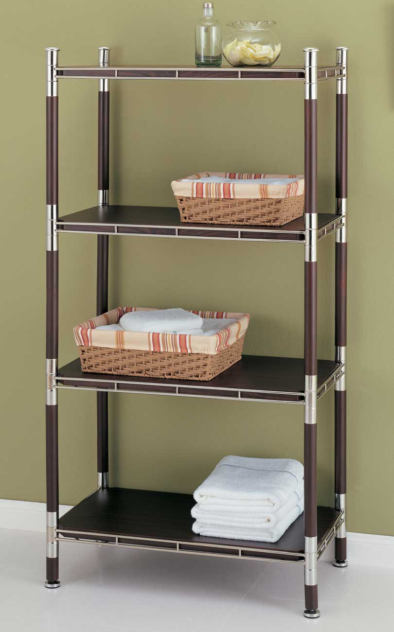 4 Tier Wood And Chrome Shelving Unit In Bathroom Shelves