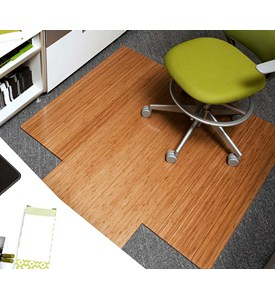 Natural Bamboo Roll-Up Office Chair Mats with 4 Inch Slat by Anji Mountain Image
