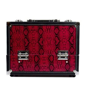 7 Compartment Makeup Case- Red Snakeskin Image
