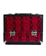 7 Compartment Makeup Case- Red Snakeskin