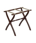 Walnut Contour Leg Luggage Rack with Beige Straps