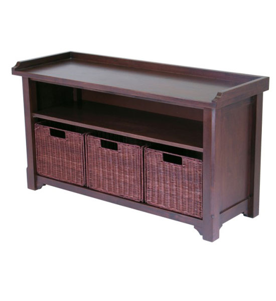 Hall Bench with Storage Baskets in Storage Benches