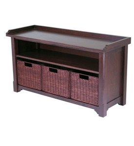 Hall Bench with Storage Baskets Image