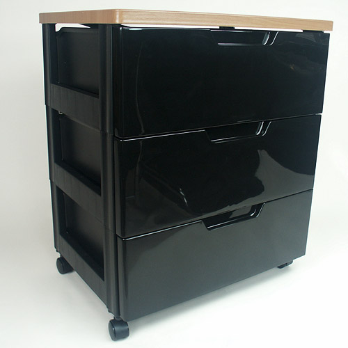 Iris Hard Top Three-Drawer Storage Chest - Black Image