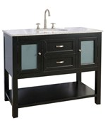 42 Inch Bathroom Vanity with Glass Cabinet