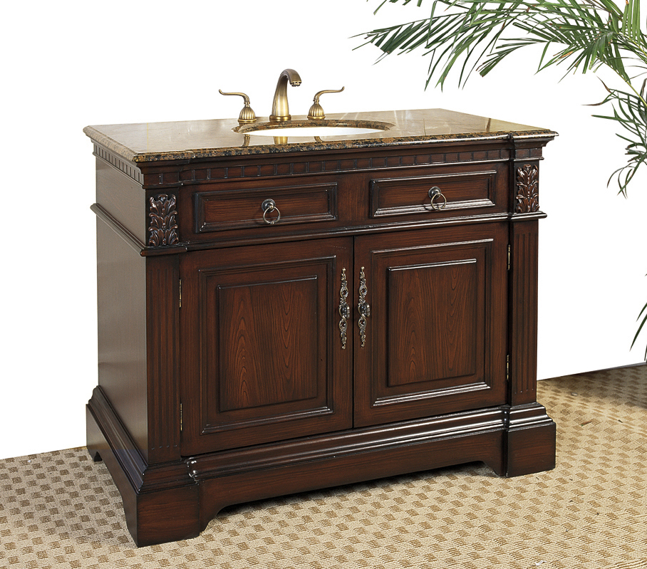 42 Inch Marble Top Bathroom Vanity Cherry In Bathroom Vanities