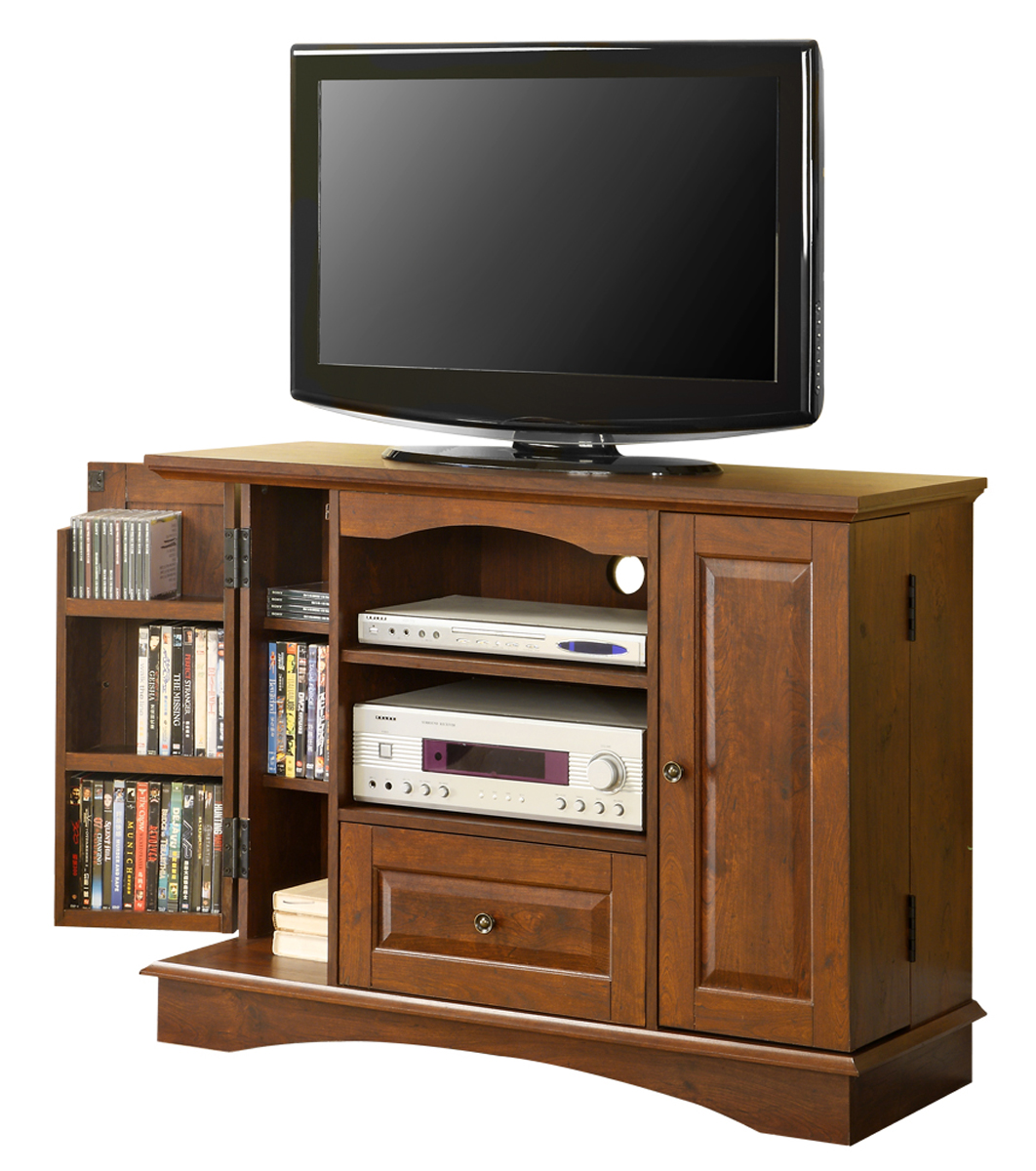 42 inch wood tv stand with media storage in tv stands. Black Bedroom Furniture Sets. Home Design Ideas