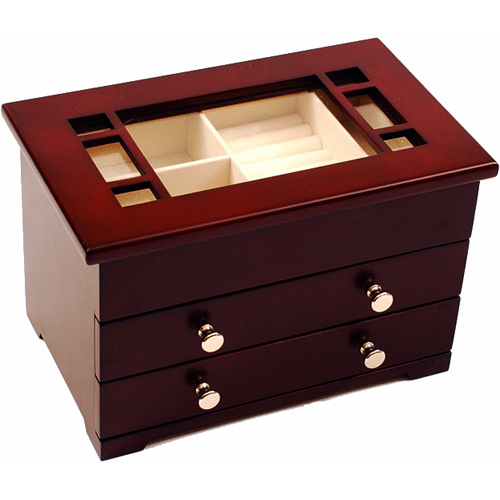 Glass Top Wooden Jewelry Box in Jewelry Boxes and Organizers