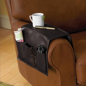 Faux Leather Armrest Caddy In Bedside Storage