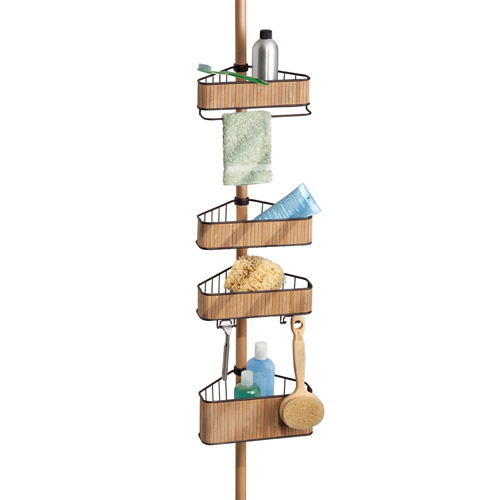 Tension Pole Corner Shower Caddy tension pole corner shower caddy bamboo image intended ideas